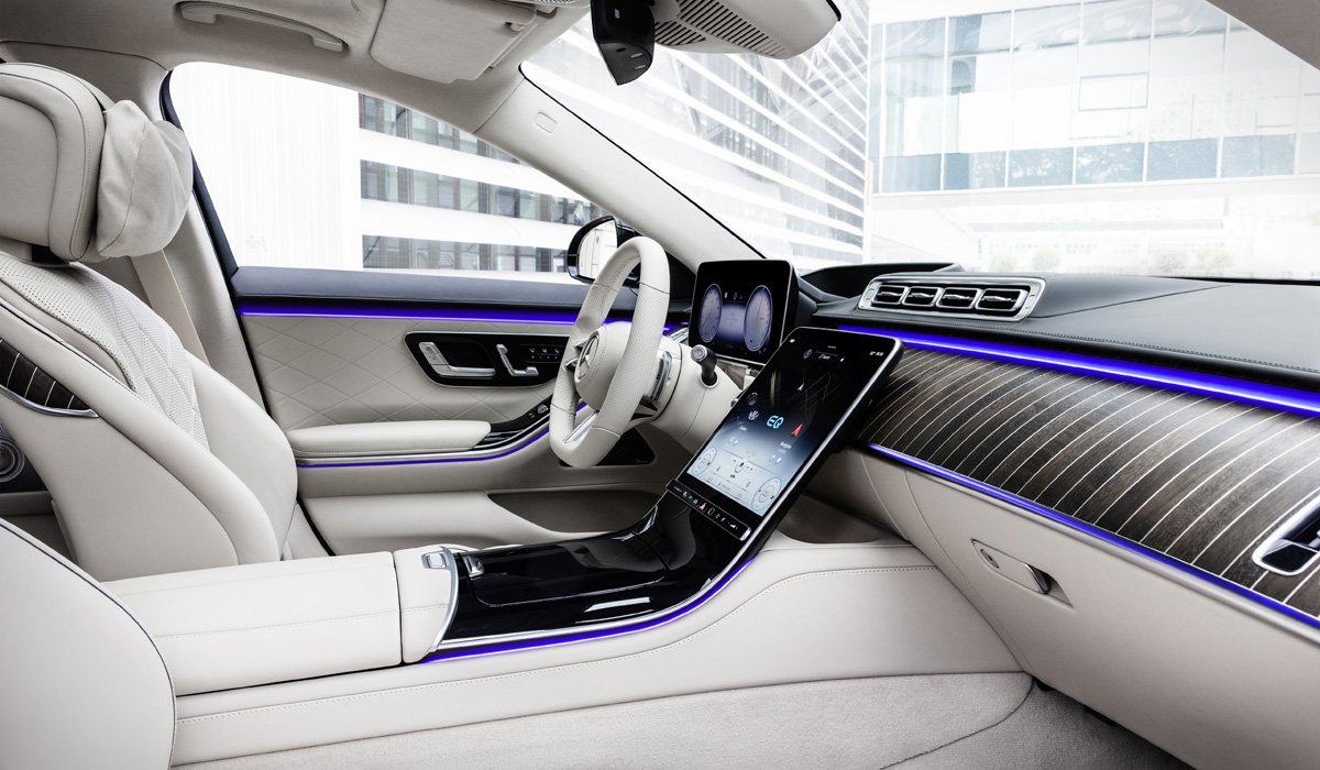 Mercedes-Benz S-Klasse, Plug-in-Hybrid, 2020, Outdoor, Interieur: Leder Nappa macchiatobeige/magmagrau   Mercedes-Benz S-Class, plug-in hybrid, 2020, outdoor, interior: leather nappa macchiato beige/magma grey